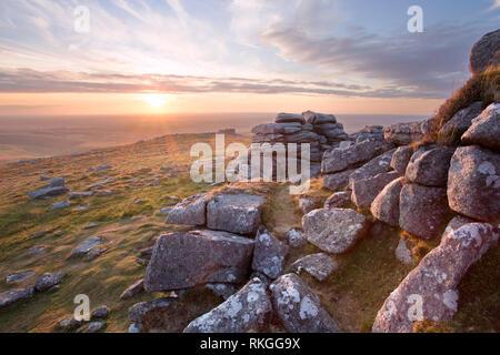 Sunset from Westmill tor Dartmoor national park Devon Uk - Stock Image