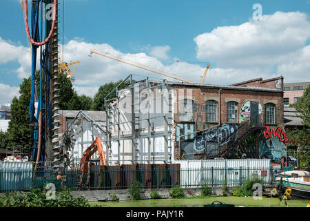 Artist studios at Vittoria Wharf, Hackney Wick, East London, 50% demolished to make way for a spare pedestrian bridge to the Olympic Park - Stock Image