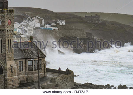 Porthleven, Cornwall, UK. 8th Feb 2019. UK Weather. Winds gusting above 60 mph and big waves battering the coastline at Porthleven this morning, as Storm Erik continues to affect Cornwall. Much of the North coast is on flood alert today. Credit: Simon Maycock/Alamy Live News - Stock Image