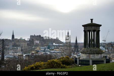 Looking across to Edinburgh castle from Calton Hill - Stock Image
