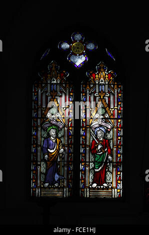 Stained glass window depicting Apostles St Matthew and St Jude or Thaddeus, All Saints Church, Beighton, Norfolk - Stock Image