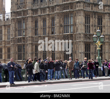 Tourists on Westminster Bridge London May 2010 - Stock Image