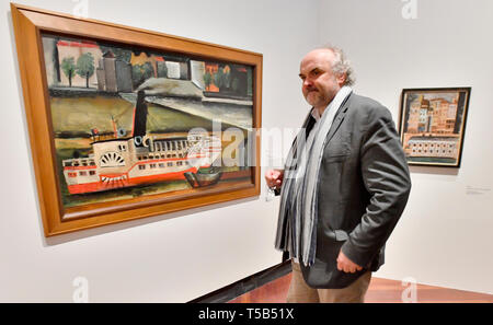 The National Gallery Prague (NGP) may lose the exhibition Dimensions of Dialogue offering the works of art by famous personalities of modern and contemporary art due to the dismissal of its director Jiri Fajt (pictured) art collector Erika Hoffmann told journalists on the 21th of April 2019. In the situation which has occurred after Fajt's sudden dismissal, the legal aspects of our cooperation will have to be reconsidered,' she added. Dismissed National Gallery Prague director Jiri Fajt visits Czech-born painter Josef Sima´s (1891-1971) exhibition Road to Le Grand Jeu in the Valdstejn Riding H - Stock Image