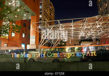 The Museum of Contemporary Art, Los Angeles, California, downtown at night. - Stock Image