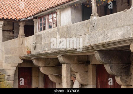 old village house in Tourem, with vaulted covered balcony - Stock Image