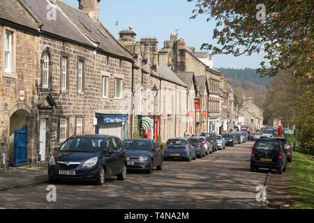 Rothbury village High Street, Northumberland, England, UK - Stock Image