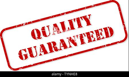 Quality guaranteed red rubber stamp vector isolated - Stock Image