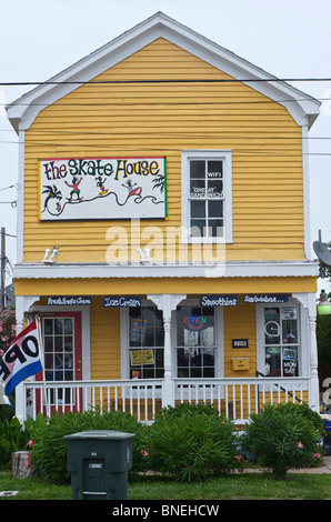 Trendy Skate house in downtown Galveston, Texas, USA - Stock Image