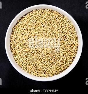 Bowl of Dry or Dried High Fibre Quinoa Seeds - Stock Image