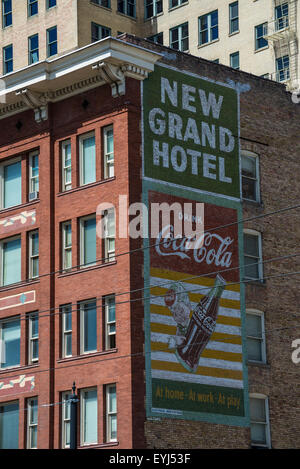 Coca Cola Ghost Sign on Historic Salt Lake City Building - Utah - Stock Image