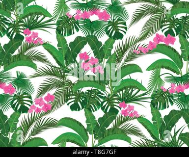 Green tropical leaves of banana, coconut, monstera and ogawa, Pink orchid. Seamless illustration - Stock Image
