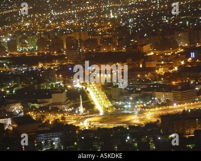View from Qasyun over damascus, damascus at night - Stock Image
