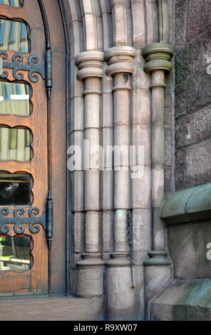 St. Paul's Episcopal Cathedral, Architectural Detail of Main Portal, Church Street, Downtown Buffalo, NY - Stock Image