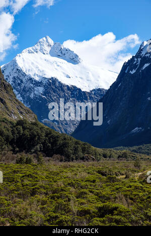 View of mountains from Monkey Creek, Fjordland, New Zealand - Stock Image