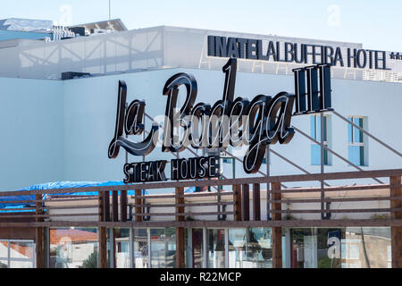 La Bodega Steak House And Inatel Hotel Sign Albufeira Portugal - Stock Image