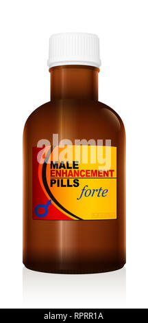 Male encancement pills. Medicine bottle with potency pills. Medical fake product - illustration on white background. - Stock Image
