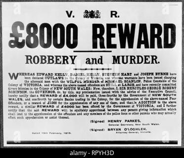 £8000 reward notice for the capture of the Kelly Gang, equivalent to $1.5 million in modern Australian currency - Stock Image