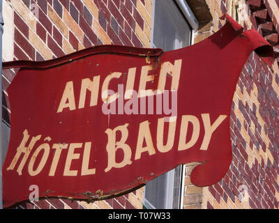 Sign for the old Hotel Baudy, former historic meeting place of impressionist painters at Giverny, France - Stock Image