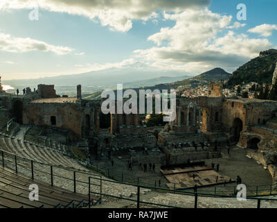 View from the Theatre in Taormina towards Mount Etna, Province of Messina, Sicily, Italy - Stock Image