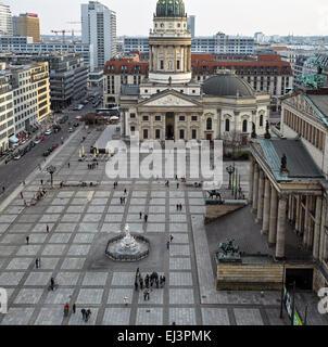 Berlin Gendarmenplatz from above. View to the German Cathedral (Deutscher Dom), with the Konzert Haus (Concert Hall). - Stock Image