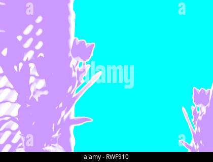 Design of rough ripped torn paper abstract tulips in purple violet aqua turquoise for Mothers Day Easter background or other spring web banner - Stock Image