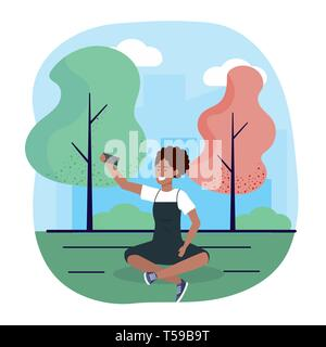 woman with smartphone trechnology and seating with trees vector illustration - Stock Image