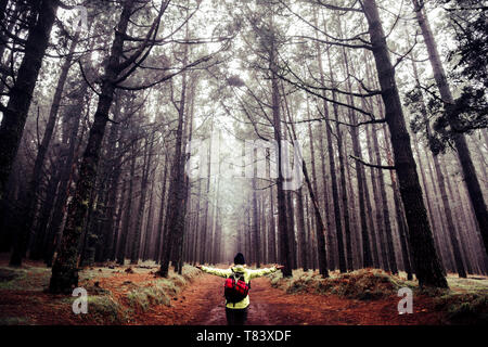 Happy people adventure trekking hiking concept enjoying nature and beautiful high trees forest wood - wanderlust and alternative vacation with beautif - Stock Image