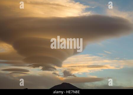 Altocumulus lenticularis or lenticular cloud in Bolivia - Stock Image