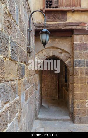Entrance of historic Beit El Set Waseela building (Waseela Hanem House) leading to the courtyard of the house, Medieval Cairo, Egypt - Stock Image