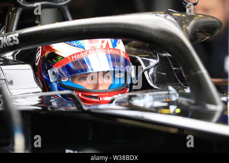 Silverstone Circuit. Northampton, UK. 13th July, 2019. FIA Formula 1 Grand Prix of Britain, Qualification Day; Rich Energy Haas F1 Team, Romain Grosjean Credit: Action Plus Sports/Alamy Live News - Stock Image