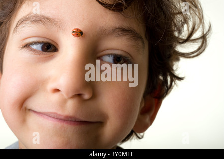 young boy with a ladybug on his face - Stock Image