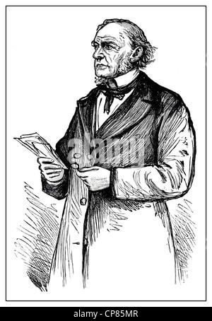 Portrait of the former British Prime Minister William Ewart Gladstone, historical engraving, 19th Century, Portrait - Stock Image