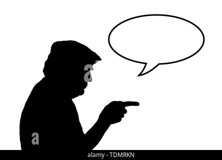 Illustration of silhouette of USA American president Donald Trump pointing with an empty speech bubble (word balloon) for text. Copyspace. Copy space. - Stock Image