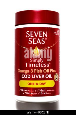 Seven seas cod liver oil omega 3 fish oil plus - Stock Image