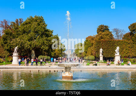 Tuileries Garden or Jardin des Tuileries is a public garden located near the Louvre in Paris, France - Stock Image