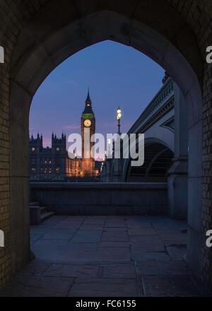 Elizabeth Tower from a Walkway Under Westminster Bridge - Stock Image