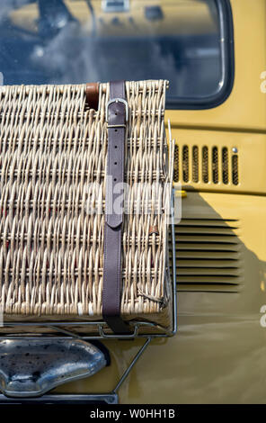 Picnic basket on the rear of a vintage Fiat car - Stock Image