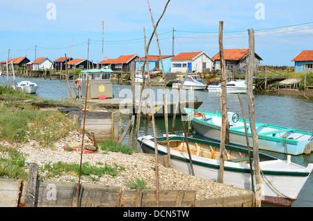 La Tremblade site ostriecole  Oyster farming harbour Charente Maritime France - Stock Image