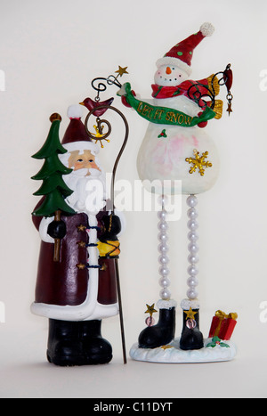 father,Christmas,santa,claus,st,nicholas,seasonal,decoration,snowman,frosty - Stock Image