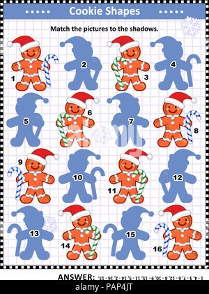 Christmas or New Year themed visual puzzle: Match the pictures of ginger men cookies to their shadows. Answer included. - Stock Image
