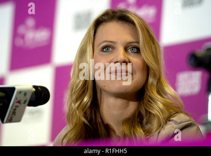 Prague, Czech Republic. 10th Nov, 2018. Czech tennis player Lucie Safarova speaks during a press conference in Prague, Czech Republic, on November 10, 2018. Safarova said she would end her career after Australian Open in January 2018. Credit: Katerina Sulova/CTK Photo/Alamy Live News - Stock Image