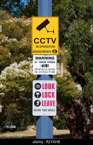 Car park security signs, Perth, Western Australia - Stock Image