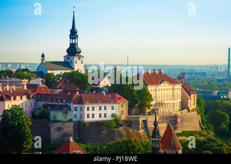 Tallinn Toompea Hill, view towards Toompea Hill with St Mary's Lutheran Cathedral rising above the skyline, Estonia. - Stock Image