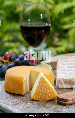French cheeses collection, yellow Riche de Saveurs, Vieux Pane and Le peche des bons peres cheeses served with glass of red port wine on marble plate  - Stock Image