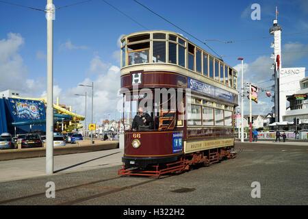Blackpool's Bolton Tram No.66 Arriving at The Pleasure Beach Loop -1 - Stock Image