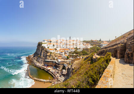 Azenhas do Mar, Portugal. Stair and view on town and natural pool. - Stock Image