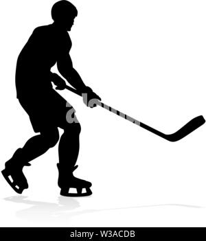Hockey Sports Player Silhouettes - Stock Image