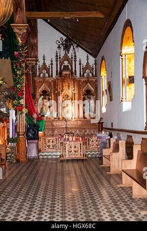 interior images of Church of Our Lady Carmen in Guatape, Medellin, Colombia - Stock Image