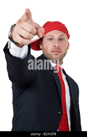 businessman pointing on isolated background - Stock Image