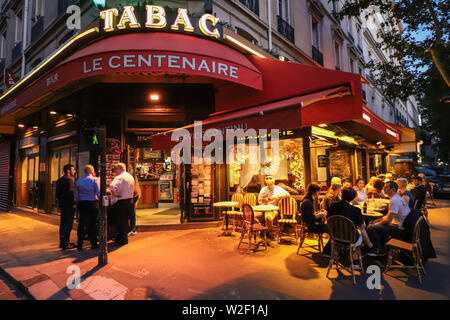 Cafe Le Centenaire is typical French cafe located near the Eiffel tower in Paris, France. - Stock Image